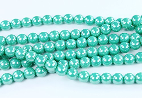 50 Luster Turquoise Czech Pressed Glass Druk Round Beads - Czech Druk Glass Beads 6mm
