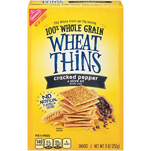 Wheat Thins Cracked Pepper & Olive Oil Crackers, 9 Ounce (Pack of 6)