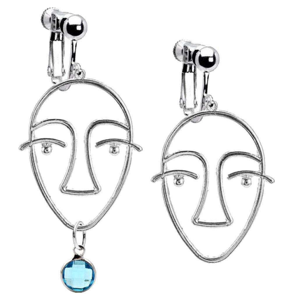 Abstract Beauty Girl Face Emoji Clip on Earrings Crystal March Birthstone Asymmetric Dangle