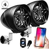 """GoldenHawk All-In-One 4"""" Waterproof Bluetooth Motorcycle Stereo Speakers 7/8-1.25 in. Handlebar Mount MP3 Music Player Sound Audio System Scooter ATV UTV w/USB, Remote, Radio, Amplifier"""