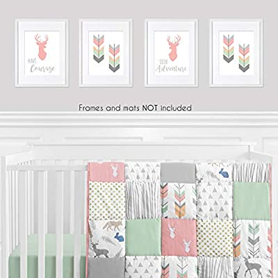 Sweet Jojo Designs Coral, Mint and Grey Woodland Deer Wall Art Prints Room Decor for Baby, Nursery, and Kids for Woodsy Collection - Set of 4 - Seek Adventure Have Courage