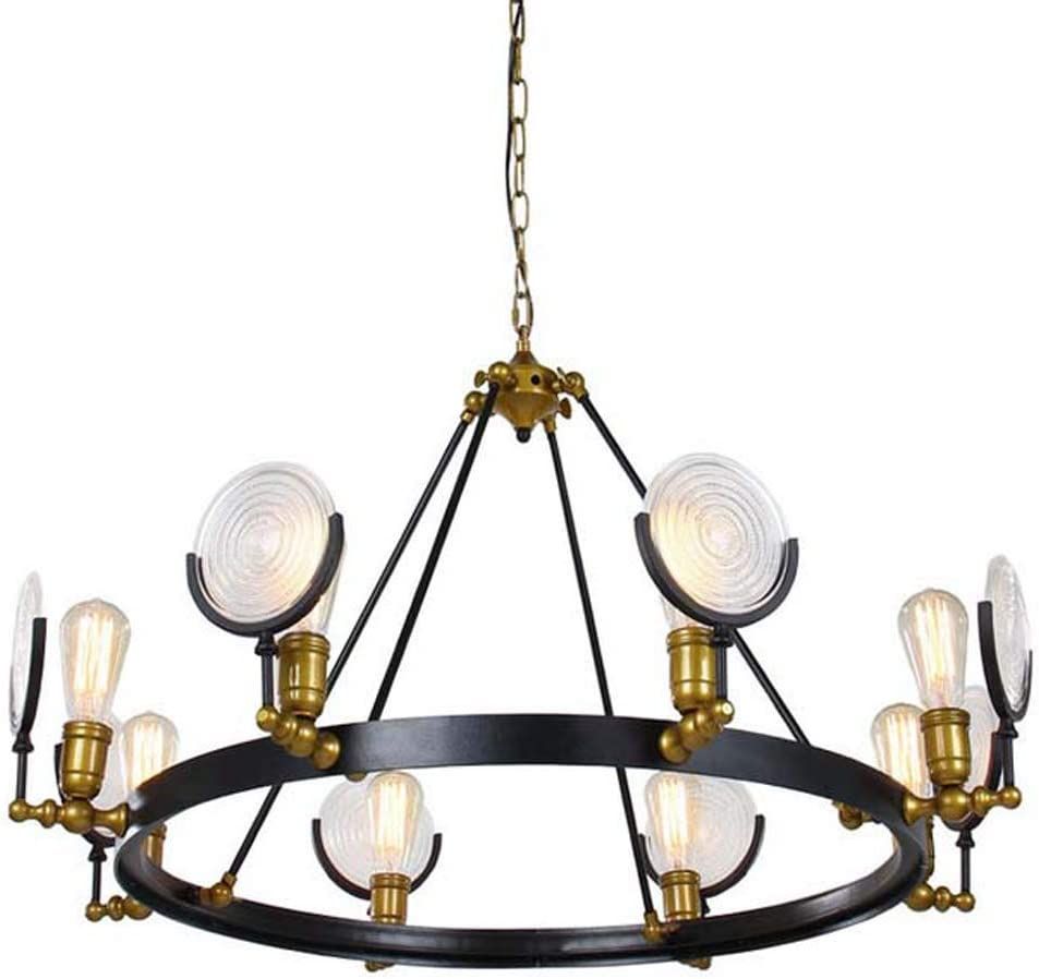 DO-MF Crystal Chandelier Industrial Wind Wrought Iron Glass Radar Chandelier Bedroom Living Room Lighting Lighting Chandelier 513BExd8MXLSL1045_