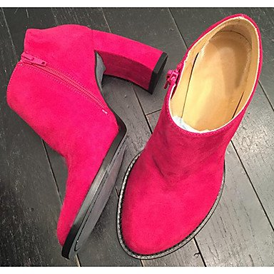 Wine Casual Black Leather Women'S Boots EU39 US8 Fuchsia For Chunky Winter Fashion Fall RTRY Real CN39 Heel Shoes Boots UK6 xOt7nSS