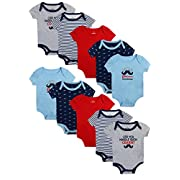 Baby Boy's Short Sleeve Bodysuits (10 Pack) Little Charmer, 0-3 Months