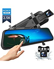 """VanTop H610 10"""" 1440P Mirror Dash Cam for Cars with Full Touch Screen, Waterproof Rear View Mirror Camera, Enhanced Night Vision with Sony Starvis Sensor, Parking Assistance"""