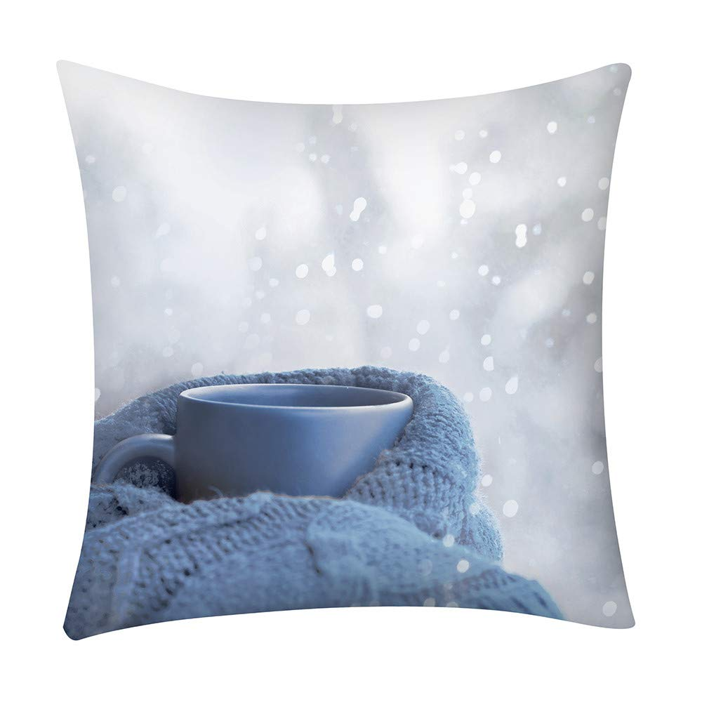 SUKEQ Christmas Embroidery Throw Pillow Case Decorative Pillow Cover Cushion Cover for Home Sofa Car, 18x18 Inch (Cup Pillow Cover)