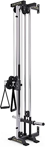 ARCHON Wall Mount Commercial Ball Bearing Cable Station 17 Position Adjustable Dual Pulleys Home Gym Equipment Cable Crossover Machine Weight Machine Cable Pulldown Functional Trainer