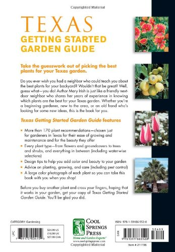 Texas Getting Started Garden Guide Grow The Best Flowers Shrubs Trees Vines Groundcovers Garden Guides Groom Dale 9781591865520 Amazon Com Books