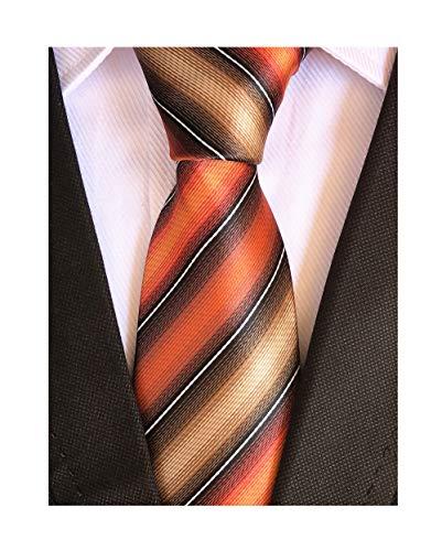 Elfeves Men's Modern Striped Patterned Formal Ties College Daily Woven Neckties (One Size, Orange Black Tan) (Patterned Black Tie)