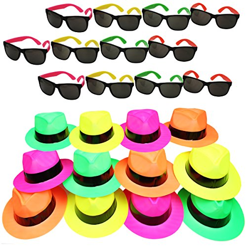 Funny Party Hats Neon Party Supplies - Fedora Party Hats with Party Sunglasses - Gangster Party - 24 Pc Set -