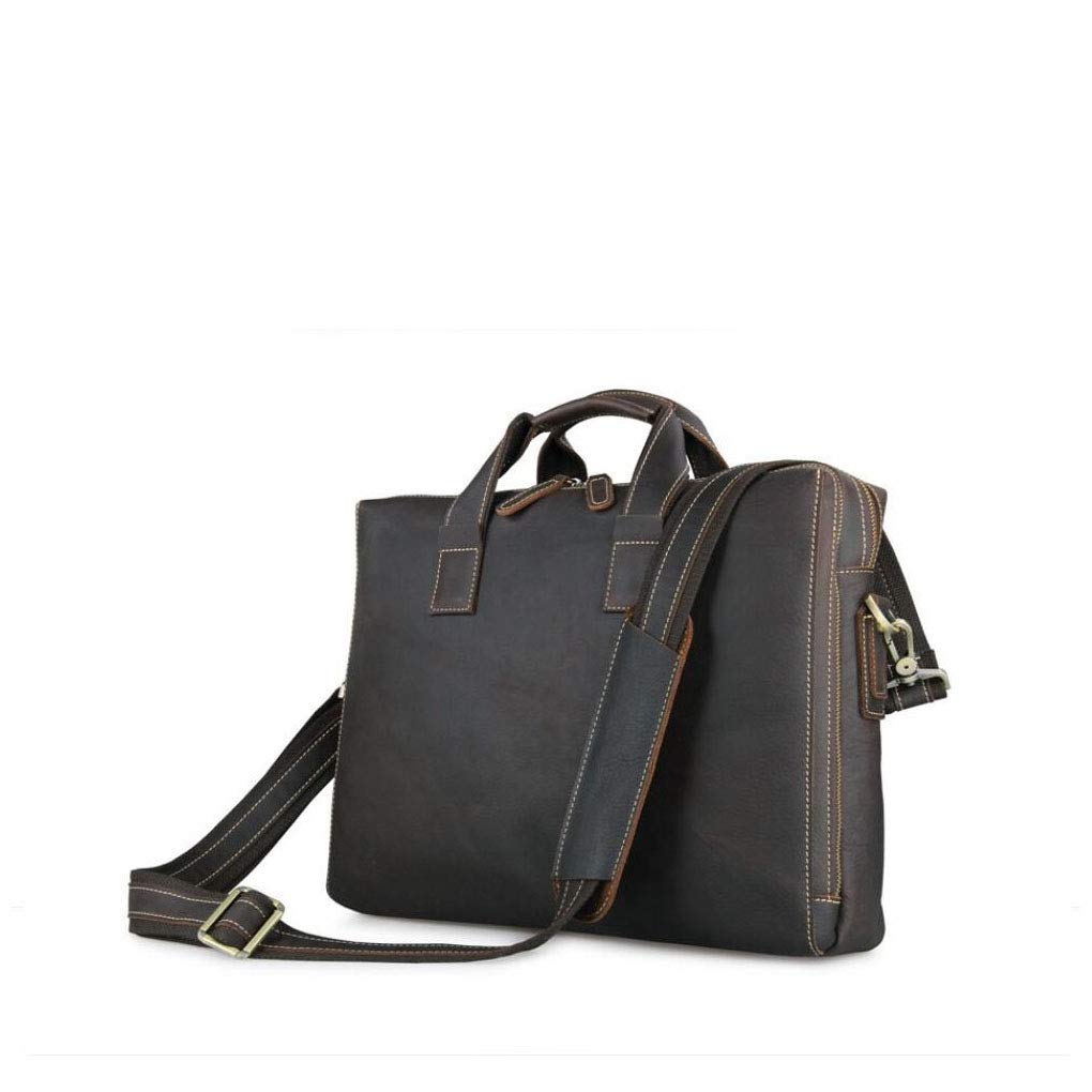 Xinyuan Mens European and American Style Leather Business Bag Simple Atmospheric Handbag Mens Diagonal Shoulder Bag Leather Computer Bag Travel Conference Work Dark Brown