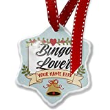 Add Your Own Custom Name, Vintage Lettering Bingo Lover Christmas Ornament NEONBLOND
