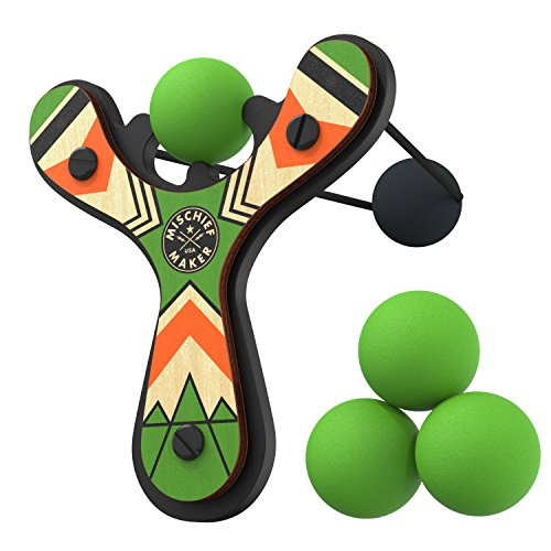 Mischief Maker Wooden Toy Slingshot by MIGHTY FUN - real wood and soft foam balls, made in USA (Green Classic)
