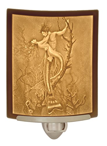(Mermaid & Merman - Curved Lithophane Porcelain Night Light - Art by David Delamare)