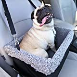 Devoted Doggy Deluxe Dog Booster Car Seat Premium Quality Metal Frame Construction - Clip-on Safety Leash - Zipper Storage Pocket - Perfect for Small and Medium Pets Up to 15 Lbs