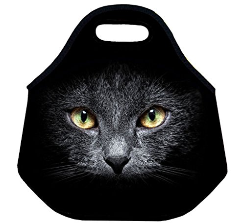 ( Dark Cat ) 3.5MM Thick Neoprene Lunch Bag / Lunch Tote, Insulated | Stretchy | Reusable | Washable | Rugged Zipper | Great For Lunchboxes & Snacks By Selric (Box Lunch Great)