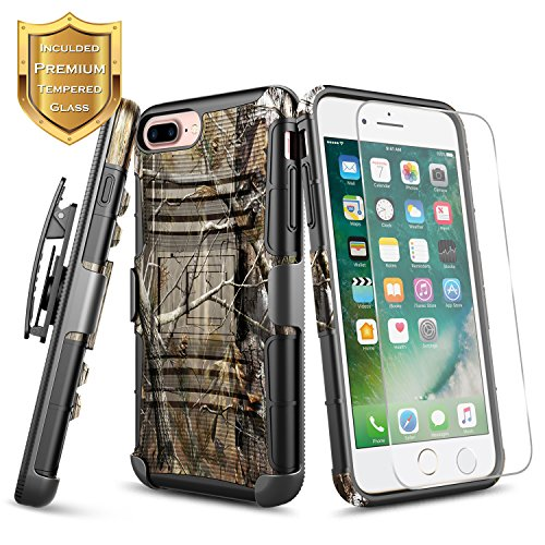 iPhone 6 Plus Case, iPhone 6S Plus Case with [Tempered Glass Screen Protector], NageBee [Heavy Duty] Armor Shock Proof Dual Layer [Swivel Belt Clip] Holster with [Kickstand] Combo Rugged Case - Camo