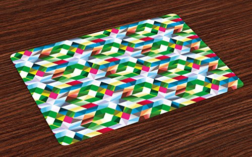 Lunarable Modern Art Place Mats Set of 4, Mathematic Shaped Asymmetrical Dimensional Intricacy Matrix Artisan Abstract, Washable Fabric Placemats for Dining Room Kitchen Table Decoration, ()