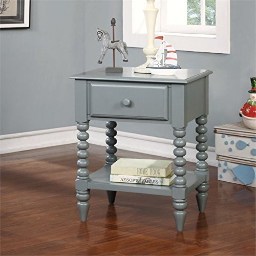 Furniture of America Epperson 1 Drawer Nightstand in Gray