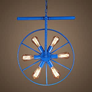 Color Wheel Chandelier American Retro Industrial Style Ceiling Lamp Edison Bulb Café Bar Hot Pot Single Head Iron Rope Pendant Lamp ( Color : Blue )