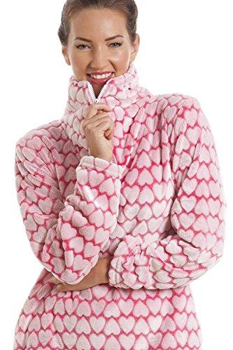 Conjunto de pijama - Forro polar suave - Estampado de corazones blancos y rosas 38/40: Amazon.es: Ropa y accesorios