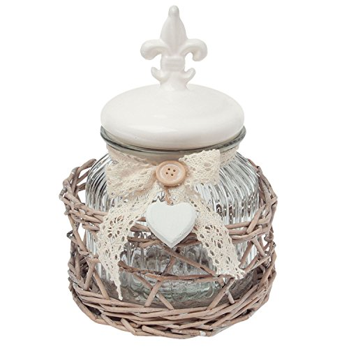 (FLEUR DE LIS CLEAR GLASS JAR WITH WICKER BACKET CREAM)