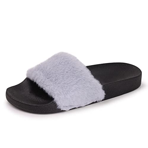 42377c1a08fea EQUICK Women's Faux Fur Slide Sandals Casual Flat Slipper for Indoor and  Outdoor Shoes