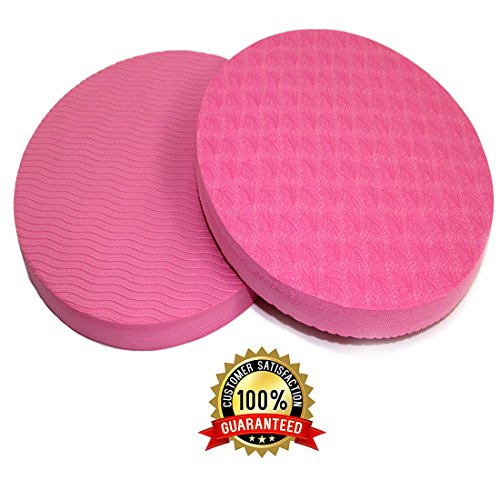 ESport 2 Pack Yoga Knee Pad Cushion, 0.6 Inch Thick, Round Eco-friendly TPE Foam knee Pad Yoga Cushion for Eliminating Knee Wrist Elbow Pain Pink