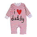 Nonna Bambini Love Daddy Baby Girl Striped Bodysuit Red (6M)