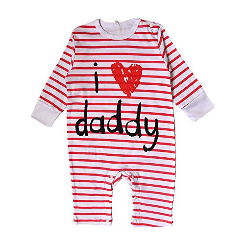 Nonna Bambini Love Daddy Baby Girl Striped Bodysuit Red (6M) by Nonna Bambini (Image #3)