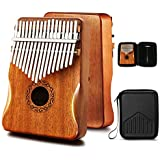 MIFOGE Kalimba Thumb Piano 17 Keys with Mahogany Wood,Mbira,Finger Piano Builts-in Waterproof Protective Box, Easy to Learn Portable Musical Instrument,Gift for Kids Adult Beginners