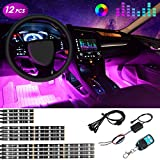 Car LED Strip Light Underglow RGB Neon Strip Light Kit with Wireless Remote Control for Motorcycle Harley Jeep Truck - 12 Packs
