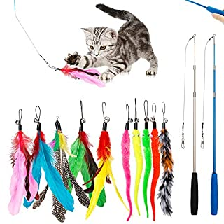 JIARON Feather Teaser Cat Toy, 2PCS Retractable Cat Wand Toys and 10PCS Replacement Teaser with Bell Refills, Interactive Catcher Teaser and Funny Exercise for Kitten or Cats.