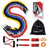 Coolrunner Resistance Bands Set, 14 PCS Workout Bands, 20lbs to 40lbs Resistance Tubes with Nylon Sleeve, Men Elastic Exercise Bands with Handle Door Anchor Ankle Strap - Stackable Up to 150lbs
