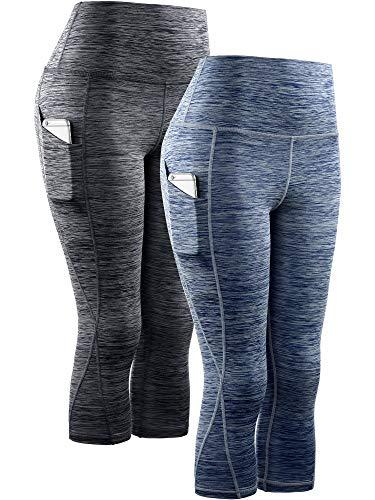 Neleus Women's 2 Pack Tummy Control High Waist Yoga Capri Leggings with Pockets,9034,Black,Navy Blue,2XL,EU 3XL (Athletic Capris For Women Plus)