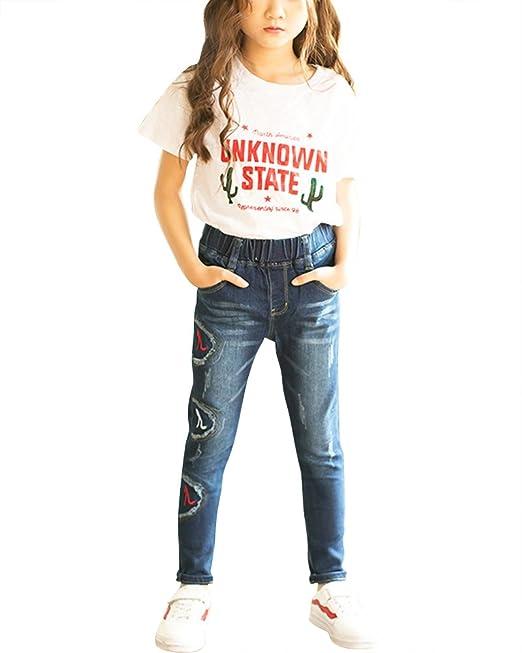 Qitun Niñas Vaqueros Bordado Jeans Bebé Slim Polainas Pantalones: Amazon.es: Ropa y accesorios