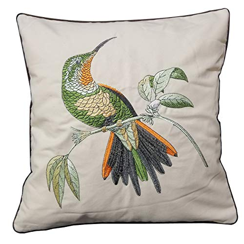 Orange Elephant Square Home Decorative Embroidered Throw Pillow Cover Cushion Covers for Living Room 18 x 18 Inch. (Bird)