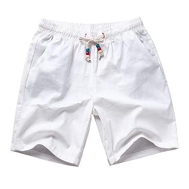 Pantalones Cortos para Hombres Ropa Hombres Hombres Verano Lino ...