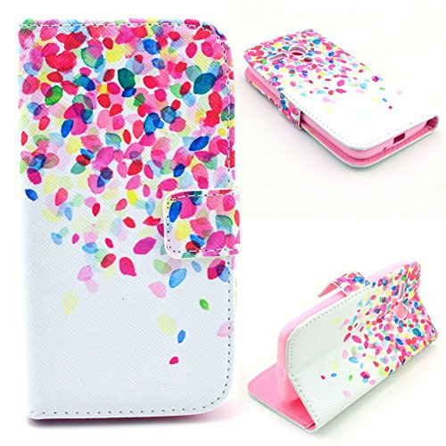 Moto G Case,UZZO Moto G Wallet Case [Book Fold] Leather Moto G Flip Cover with Folding Stand,[Colorful Flower Petals Pattern] Pu Leather Flip Case for Motorola Moto G (1st Gen) (Moto X 1st Gen Case Flip)