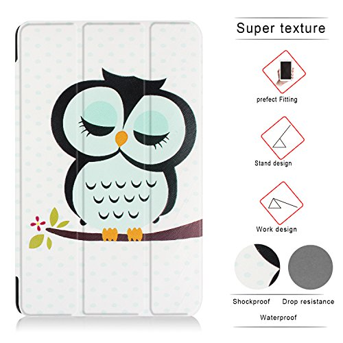 X-Tablet Slim Lightweight Standing Custom Fit Case for Samsung Galaxy Tab A 10.1 (SM-T580/SM-T585) - Cute Owl