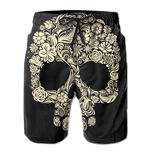 (Halloween Gold Floral Skull Men's Beach Boardshort Summer Casual Workout Pants with)