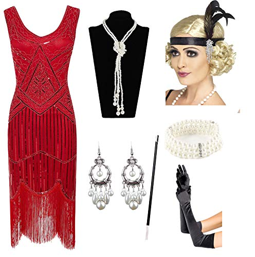 (1920s Gatsby Sequin Fringed Paisley Flapper Dress with 20s Accessories Set (2XL,)