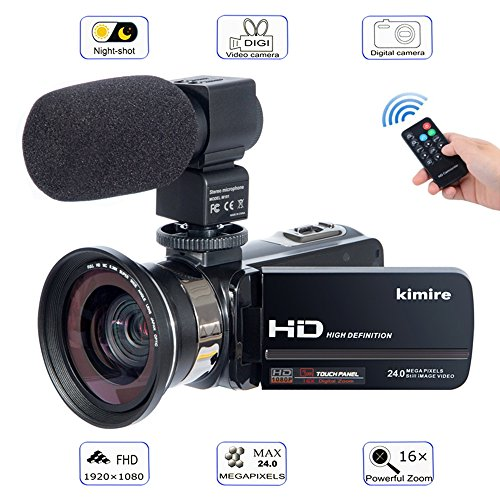 Camera Camcorder Kimire HD 1080P 16X Powerful Digital Zoom Video Camera with Microphone and Wide Angle Lens 3.0 Inch Screen 24 MP Remote Control Infrared Night Vision Recorder - Stabilizer Image Kit