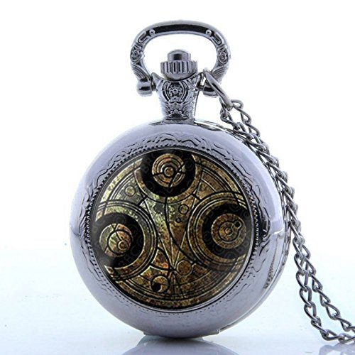 Hunter Quartz Pocket Watch (Silver Space Time Antique Full Hunter Vintage Pocket Watch Necklace Quartz Pendant Chain Gift)