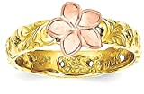 ICE CARATS 14k Two Tone Yellow Gold Plumeria Baby Band Ring Size 3.00 Flowers/leaf Fine Jewelry Gift Set For Women Heart
