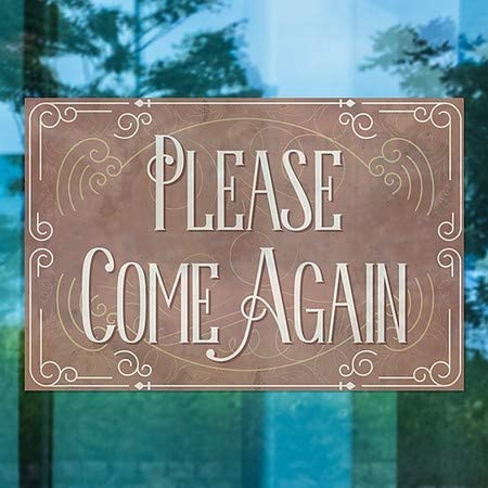 5-Pack Please Come Again Victorian Card Window Cling CGSignLab 27x18