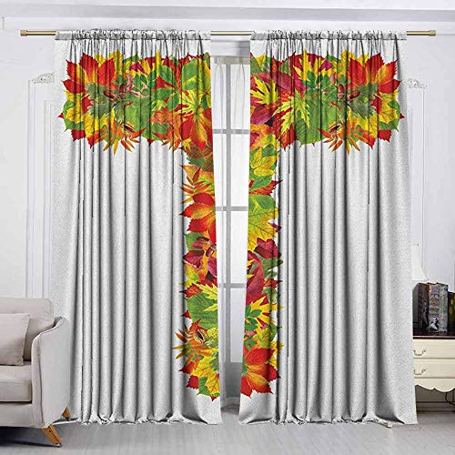 Thermal/Room Darkening Window Curtains ,Letter T,Uppercase T Name Alphabet Symbol with Bunch of Shaded Fall Oak Tree Leaves Season,Decor Thermal/Room Darkening Window Curtains,W63x45L Inches Multicol