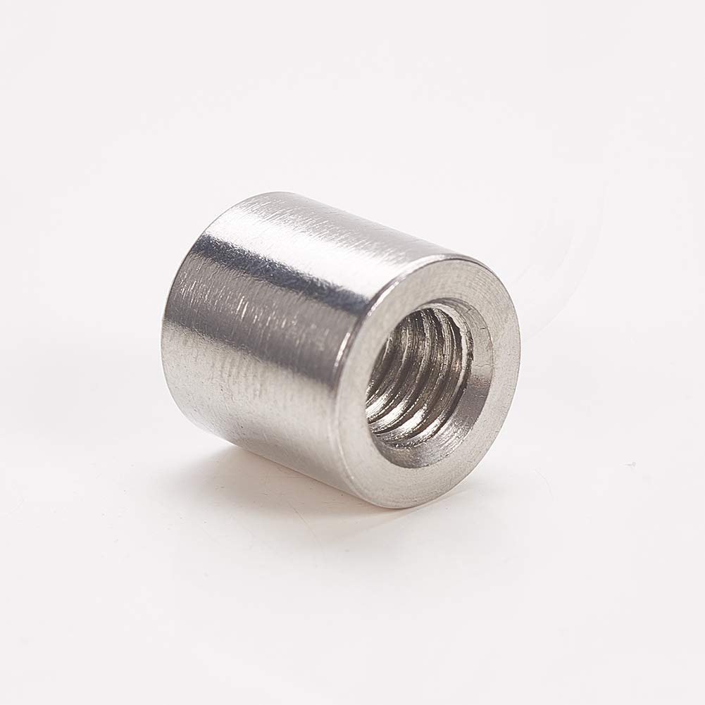 MroMax M6 Height 10mm 304 Stainless Steel Threaded Sleeve Rod Bar Stud Round Coupling Connector Tube Nuts Silver Tone 5pcs