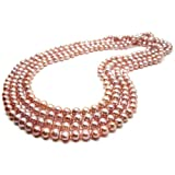 HinsonGayle AAA Handpicked 7-7.5mm Naturally Pink Freshwater Cultured Pearl Rope Necklace 82 inch Strand