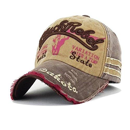 Skyeye Sombrero de Vaquero Roto Retro Viejo Salvaje de la Gorra de Béisbol, Visera de Ribete Hombres y Mujeres Gorra de Béisbol Nueva Marrón 9